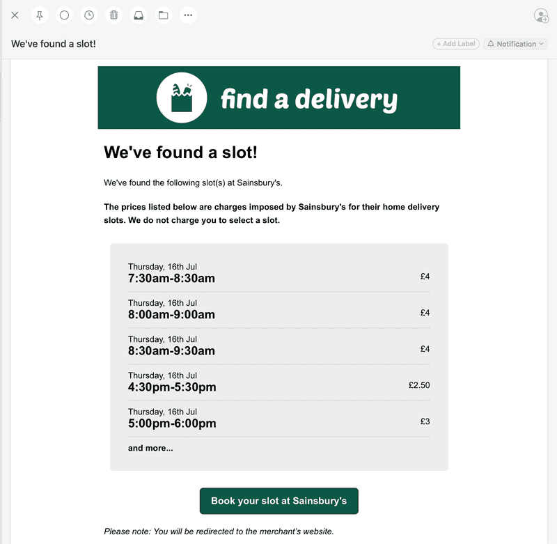 screenshot of an email notification from findadelivery.com