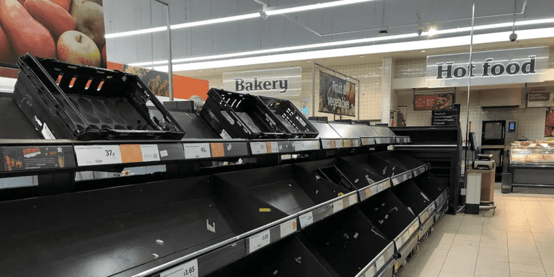 picture of an empty Sainsbury's aisle